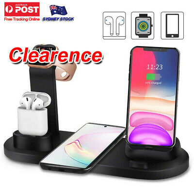 AU26.99 • Buy 3in1 Qi Wireless Charger Fast Charging Dock Stand For Airpods Apple Watch IPhone