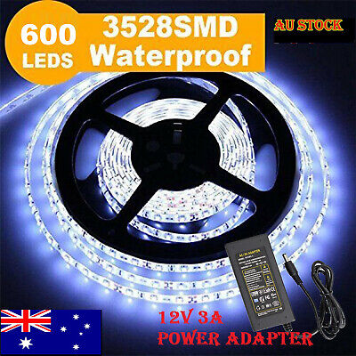 AU12.99 • Buy 600 LEDs Waterproof Cool White DC 12V 3528 SMD 5M LED Strip Lights With Adapter@