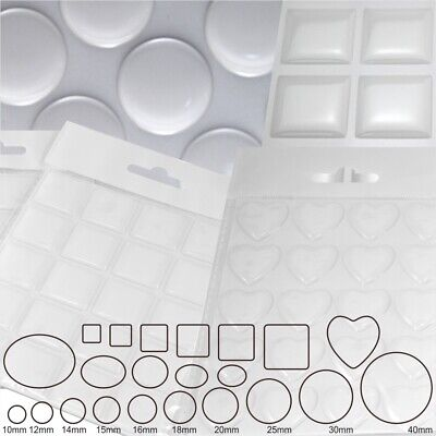 Clear Epoxy Resin Dome 3D Gel Stickers Silicone Round Circle Square Oval Heart • 2.29£