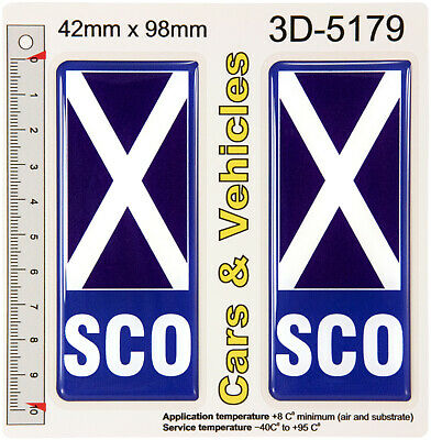 2x Scotland SCO Flag 3D Resin Gel Domed Number Plate Decal Badges Stickers Car • 3.99£