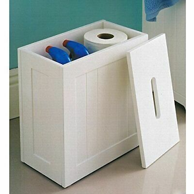 Wooden White Crisp Finish Small Toilet Cleaning Product Storage Tidy Box Unit • 21.98£