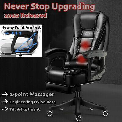 AU145.95 • Buy Massage Office Chair Recliner Computer Gaming Seat PU Leather