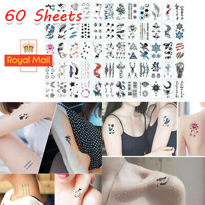 60 Sheets Waterproof Tattoo Stickers Men Women Temporary Body Arm Leg Flower Art • 2.98£