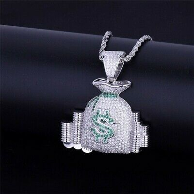 $10.97 • Buy Hip Hop Jewelry Bling Money Bag Stack Iced  Cash Coins Pendant Necklace Silver