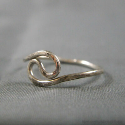 Hammered Yin-Yang Wire Ring In Solid Sterling Silver Jewelry KG8411 • 5.99£