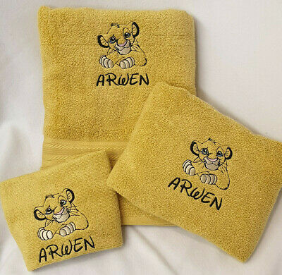 Personalised Embroidered Disney Lion King Simba Towel Flannel Set Christmas Gift • 29.95£