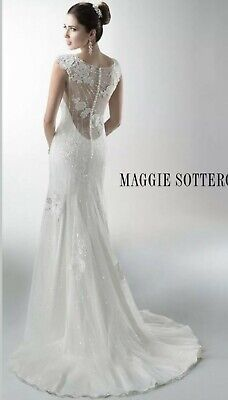 £275 • Buy Maggie Sottero Wedding Dress Size 10 Illusion Back, Sparkly Beaded