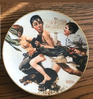 """$ CDN15.99 • Buy Norman Rockwell Gorham No Swimming Signed Thomas Rockwell 8.5"""""""