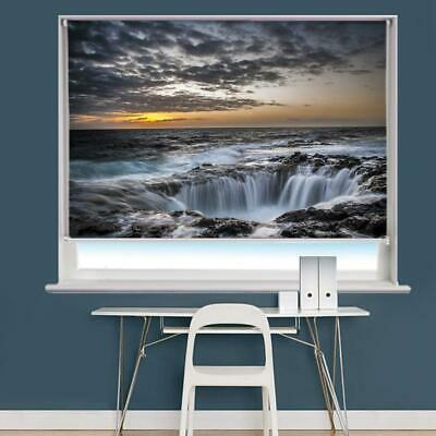 £178.21 • Buy Waterfall Sea Sunset Ocean Printed Picture Photo Roller Blind Blackout Remote