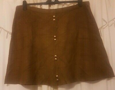 Primark Khaki Knit Skirt With Gold Buttons Size 20 • 3£