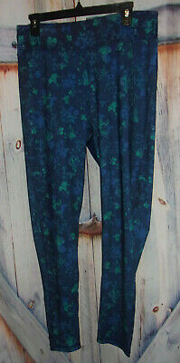 $8 • Buy Woman Within Multi Blue Activewear STRETCH YOGA Pants Size M (14-16) Band Pocket