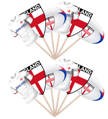 £3.99 • Buy 12 Rugby Party Food Cup Cake Picks Sticks Flags Decorations Toppers England