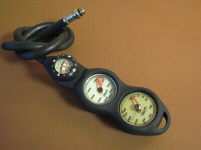 $ CDN89.10 • Buy UWATEC Console 3 In Line Pressure / Depth Gauge Compass With Hose Scuba Set SPG