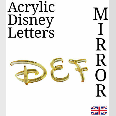 Disney Letters Gold Acrylic Mirror For Plaque Wall Door Display And Arts & Craft • 1.49£