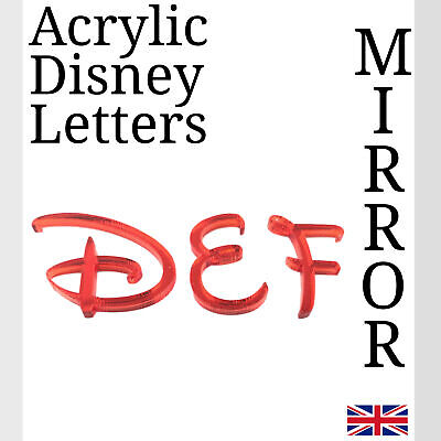 Disney Letters Red Acrylic Mirror For Plaque Wall Door Display And Arts & Craft • 1.49£