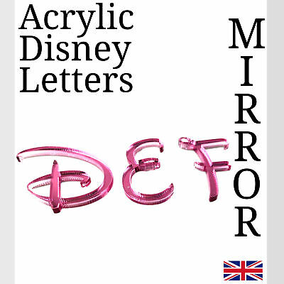 Disney Letters Pink Acrylic Mirror For Plaque Wall Door Display And Arts & Craft • 1.49£