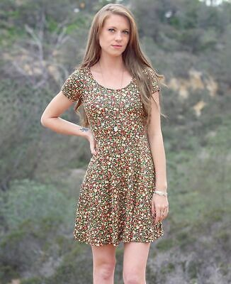 $17.99 • Buy Olive Green Floral Skater Dress | Boho Dress | Womens Bohemian Clothing