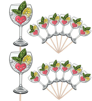 £4.99 • Buy Gin And Tonic Party Food Cup Cake Picks Sticks Flag Birthday Decorations Toppers
