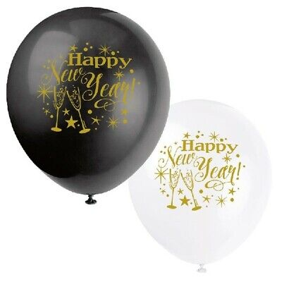 8 X Happy New Year 12  Black White Balloons New Years Eve Party Decorations  • 2.99£