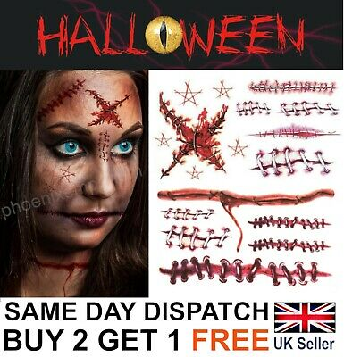 £1.99 • Buy Halloween Zombie Scars Tattoos Fake Blood Scab Scar Wound Costume Make-Up Stitch
