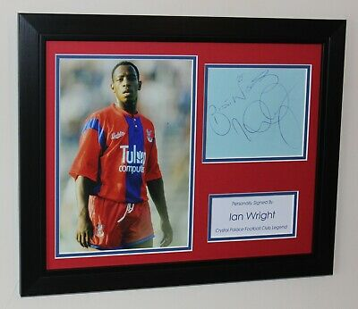 FRAMED Ian Wright In Crystal Palace Shirt HAND SIGNED Autograph Photo Mount COA • 74.95£