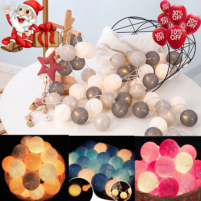 20 Mix Colour Mains UK Plug In 3M Lights String Home Fairy LED Cotton Ball • 7.79£