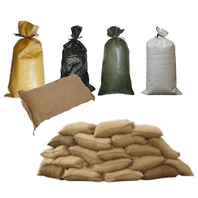 Pack Of 25 All Types Yuzet Sand Bags With Ties Flood Protection Sack Sandbag • 21.99£