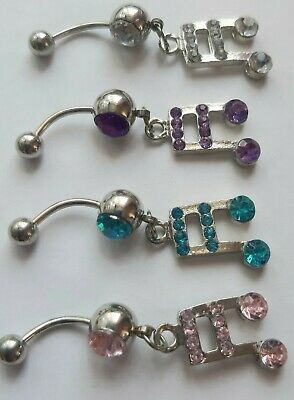 Musical Note Crystal Gem Navel Belly Bar Ring 14ga Bar Length 10mm • 1.75£