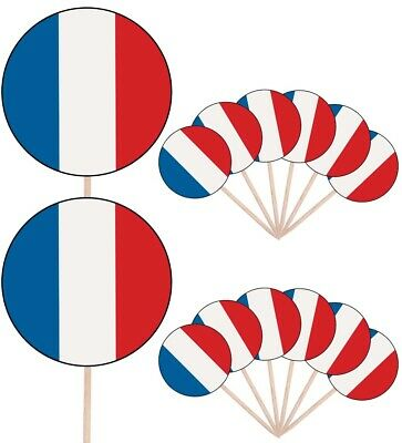 France French Flags Party Food  Cupcake Cake Picks Sticks Decorations Toppers  • 4.99£