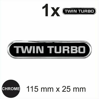 TWIN TURBO 3D Chrome Sticker Car Domed Resin Badge Emblem Decal Self Adhesive • 3.39£
