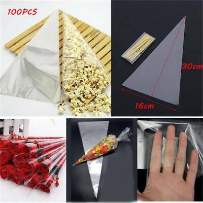 100Pcs Plastic Clear Candy Bag Triangle Popcorn Storage Bags Party Supplies 6A • 4.14£