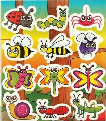 Insect Stickers Party Bag Christmas Stocking Fillers Ladybird Bee Grasshopper UK • 1.99£
