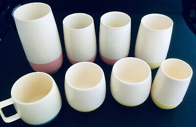 $21.50 • Buy 8 VTG 60s VACRON BOPP DECKER INSULATED PLASTIC THERMAL CUPS MUG PINK YELLOW AQUA