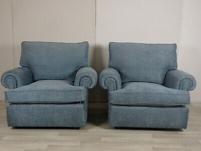 £900 • Buy Immaculate Duresta Waldorf Pair Of Armchairs In Blue Woven Fabric