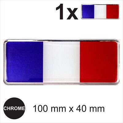 1x France French Flag 3D Chrome Sticker Car Domed Resin Side Badge Emblem Decal • 3.49£
