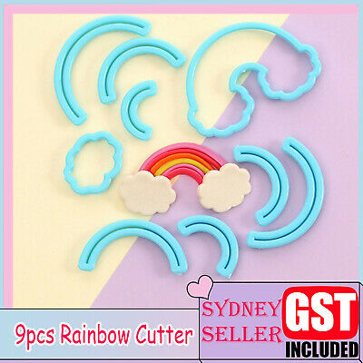 AU6.99 • Buy 9x Rainbow Cookies Biscuit Cutter Fondant Mould Cake Sugarcraft Decorating Mold