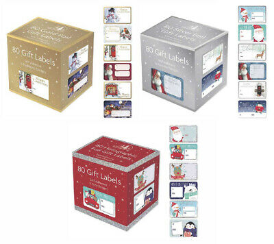 80 Christmas Self Adhesive Gift Labels Tags Traditional Assorted Stickers Wrap • 2.99£