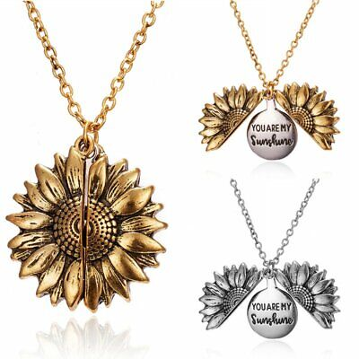You Are My Sunshine  Open Locket Sunflower Fashion Pendant Necklace Women Gifts • 2.85£