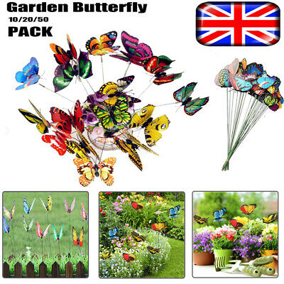 10/20/50Pcs Colorful Garden Butterflies Stakes Patio Home Ornaments On Sticks UK • 4.39£