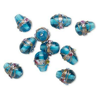 4081 Bead Glass Teardrop Blue 13mm PK10 *UK EBAY SHOP* • 4.50£