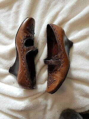 Jana Brown Mary Jane Shoes Taupe LEATHER Wedges Round Toe Uk 6 Wide Fit Stud Det • 30£
