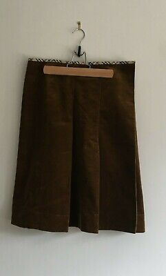 Burberry London Corduroy Skirt Ochre/Rust Brown Vintage Sample (Buttoned, Lined) • 150£