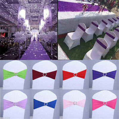£14.97 • Buy 50/100X Stretch Wedding Decorations Elastic Spandex Chair Cover Sashes Bow Bands