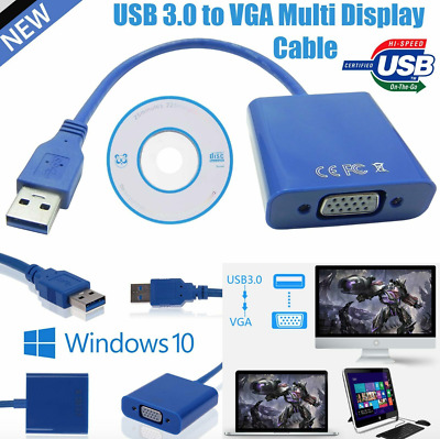 USB 3.0 A Male To VGA 15 Pin Female Video Display External Cable Cord Adapter UK • 8.49£
