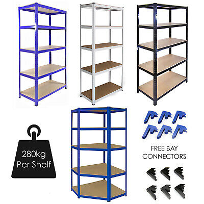 Garage Racking 5 Tier Shelving Unit Boltless Heavy Duty Metal Shelf Shed Storage • 59.99£
