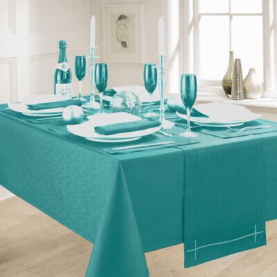 Linen Look Teal Table Cloths Elegant Slubbed Party Christmas Turquoise Green • 6.99£