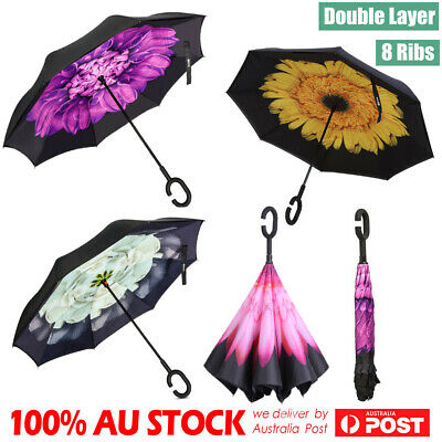 AU15.89 • Buy Windproof Upside Down Reverse Umbrella C Handle Double Layer Inside-Out Inverted
