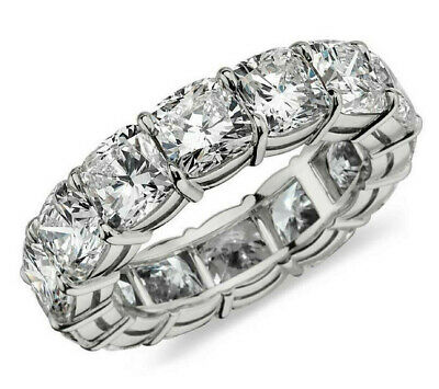 $219.99 • Buy 4.99ct Cushion Cut Diamond Engagement Band Eternity Ring Solid 14k White Gold