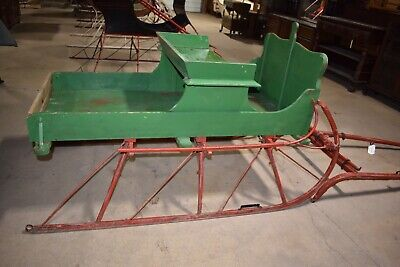 $1475 • Buy Restored Antique Pony Box Sleigh Green & Red Horse Drawn Sled