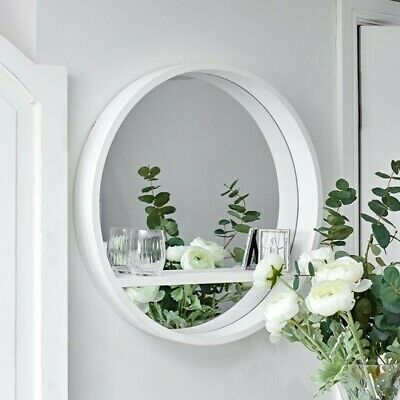 £15.49 • Buy White Round Mirror With Shelf Wall Mounted Porthole Bathroom Bedroom Home Decor